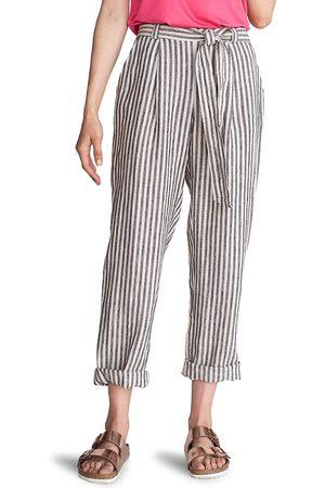 Trina Turk Women's Stripe Roll-Cuff Tie-Waist Linen Kick Back Pants - Size Large