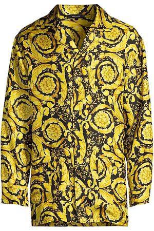 VERSACE Men Pajamas - Men's Baroque Silk Pajama Top - Print - Size XL
