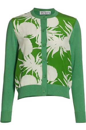 Oscar de la Renta Women Cardigans - Women's Pineapple-Print Silk Knit Cardigan - Multi - Size Large
