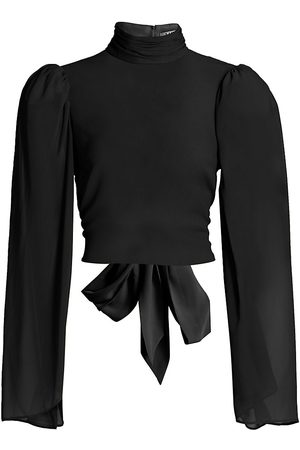 AMUR Women's Mockneck Backless Bow Blouse - - Size 10