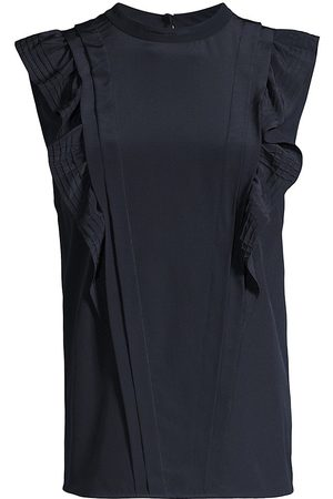 REBECCA TAYLOR Women's Sleeveless Pintuck Silk Blouse - Midnight - Size Medium