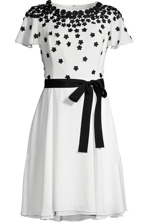 Shani Women Printed Dresses - Women's Floral Appliqué Belted Georgette Dress - Ivory - Size 14