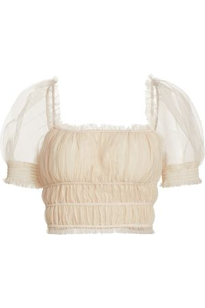ALICE+OLIVIA Women's Ashlyn Shirred Cropped Top - Champagne - Size XL
