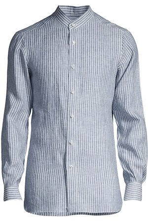 ISAIA Men's Striped Banded-Collar Linen Sport Shirt - Navy - Size 17.5