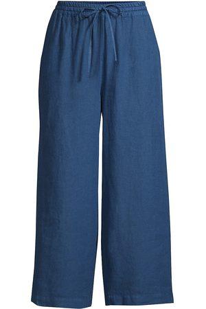 120% Lino 120% Lino Women's Drawstring Cropped Linen Pants - Ocean - Size Medium