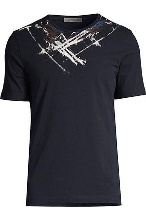 corneliani Men's Painted Design T-Shirt - Navy - Size 48