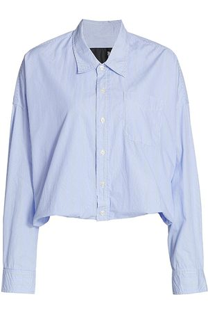 R13 Women's Gathered Hem Shirt - Light Pin Stripe - Size Small