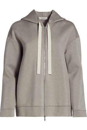 Max Mara Women Hoodies - Women's Formica Jersey Doppio Zip-Up Hoodie - Medium Grey - Size XS