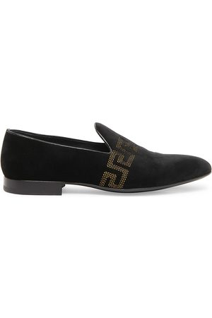 VERSACE Men Loafers - Men's Greca Embroidered Loafers - Nero Oro - Size 12