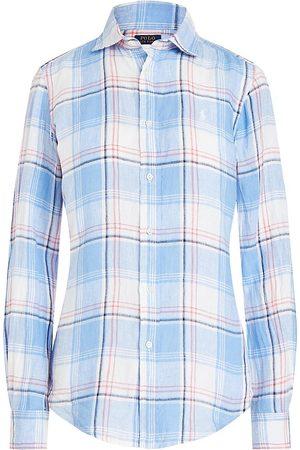 Polo Ralph Lauren Women Polo Shirts - Women's Classic-Fit Plaid Linen Shirt - - Size Medium