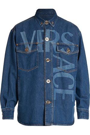 VERSACE Men's Logo Denim Jacket - Medium - Size 38