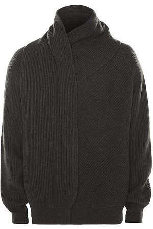 Alexander McQueen Men's Scarf Neck Wool Jumper - Charcoal - Size Medium