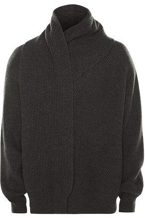Alexander McQueen Men's Scarf Neck Wool Jumper - Charcoal - Size Medium