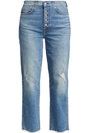 7 for all Mankind Women High Waisted - Women's High-Rise Raw-Edge Cropped Straight-Leg Jeans - Aquarius - Size 12