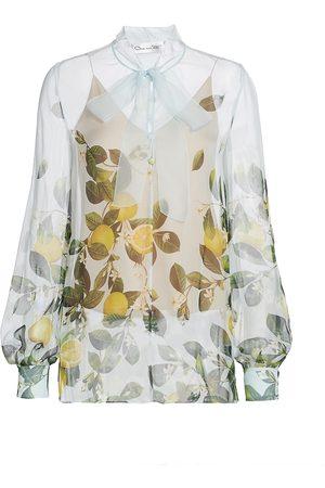 Oscar de la Renta Women Blouses - Women's Citrus Primavera Silk Tie-Neck Blouse - Aqua Multi - Size 16