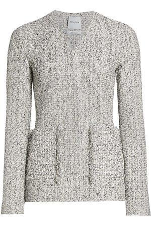 ST. JOHN Women Jackets - Women's Boucle Tweed Knit V-Neck Jacket - Ecru - Size 16