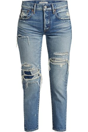 Moussy Women Tapered - Women's Louisville Tapered Distressed Jeans - - Size 31