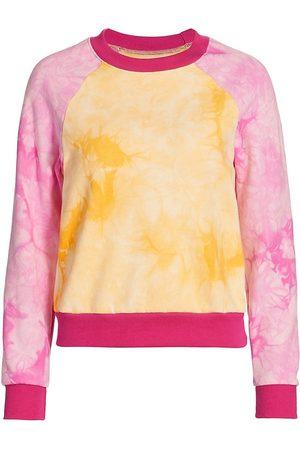 Warm Women Sports Hoodies - Women's Two-Tone Tie Dye Crew Sweatshirt - Sunset Fuschia - Size Medium