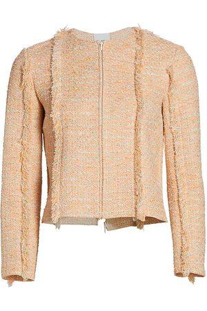ST. JOHN Women Knitted Dresses - Women's Bouclé Tweed Knit Jacket - Peach Multi - Size 16