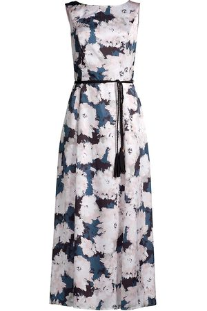 Donna Karan Women Printed Dresses - Women's Belted Floral Midi Dress - Textured Swirls - Size 4