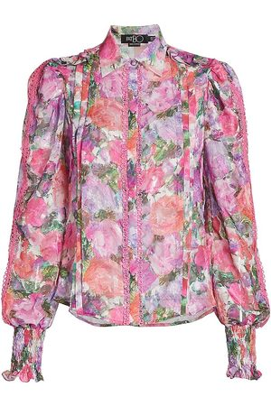 PATBO Women Blouses - Women's Blossom Button-Front Blouse - Rose - Size 6