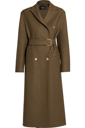 VERSACE Women's Double-Breasted Belted Wool Coat - Kakhi - Size 12
