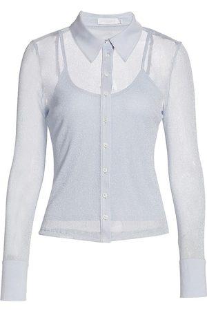 JONATHAN SIMKHAI Women's Tia Shimmer Tulle Button-Up Shirt - Sky - Size XS