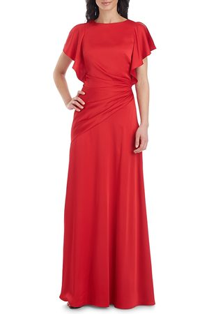 THEIA Women's Asymmetrical Ruched Flutter-Sleeve Gown - - Size 10