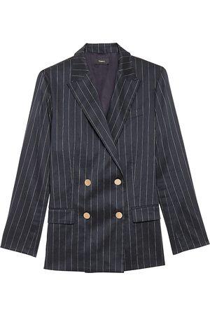 THEORY Women Sports Jackets - Women's Piazza Double Breasted Pinstripe Jacket - Navy Multi - Size 6