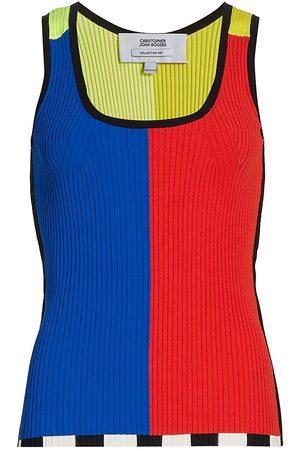 Christopher John Rogers Women's Color Block Ribbed Tank Top - Rainbow Multi - Size Medium