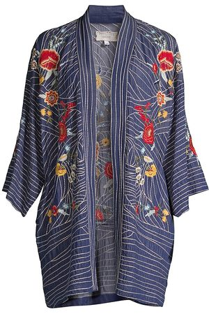 JOHNNY WAS Women Kimonos - Women's Katya Floral-Embroidered Chambray Kimono - Dark - Size XS