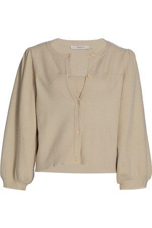 Gestuz Women Cardigans - Women's Puff-Sleeve Knit Cardigan - Moon Beam - Size Large