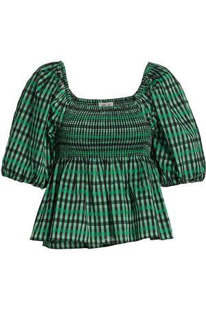 Baum und Pferdgarten Women Sports T-shirts - Women's Mlyssa Check Smocked Top - Gum Drop Check - Size 6