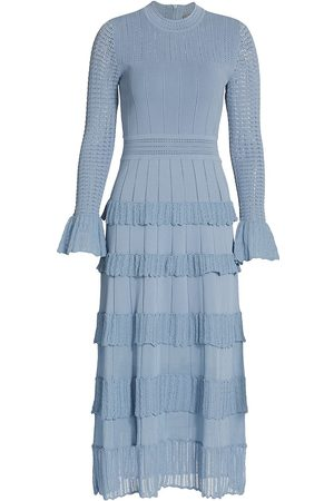 LELA ROSE Women Knitted Dresses - Women's Ruffle Detail Long Sleeve Knit Midi Dress - French - Size Medium