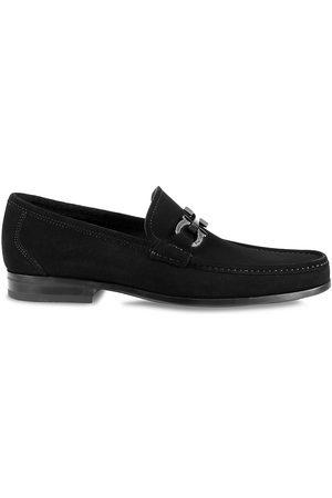 Salvatore Ferragamo Women's Grandioso Gancini Suede Loafers - Nero - Size 13