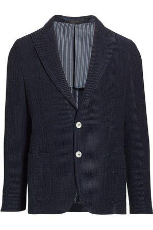 Armani Men Blazers - Men's Textured Seersucker Sportcoat - Navy - Size 46