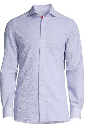 ISAIA Men Tops - Men's Micro Anchor-Print Sport Shirt - - Size 18.5