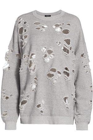 R13 Women Sports Hoodies - Women's Distressed Oversized Crewneck Sweatshirt - Heather Grey - Size XS