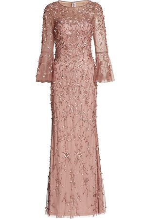 THEIA Women's Flounce-Sleeve 3-D Embroidered Gown - Antique Rose - Size 16