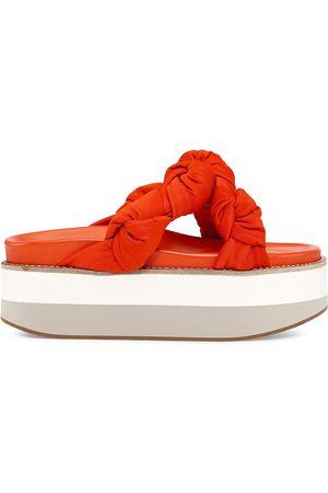 Ganni Women Platform Sandals - Women's Satin Knotted Platform Slide Sandals - - Size 11