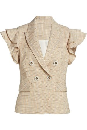 VERONICA BEARD Women Gilets - Women's Janae Plaid Flutter-Sleeve Vest - Khaki Multi - Size 2