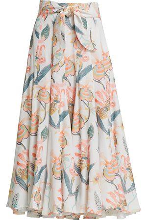 No Pise La Grama Women Midi Skirts - Women's Gio Floral Midi Skirt - La Orquidea - Size 0