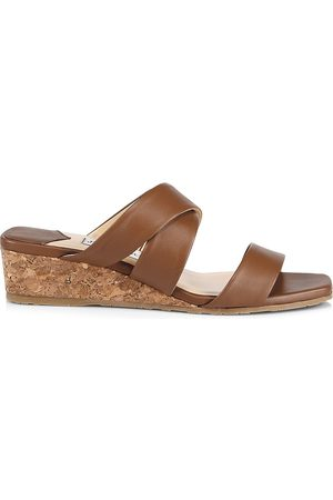 Jimmy Choo Women Wedges - Women's Samara Leather Wedge Mules - Cuoio - Size 12