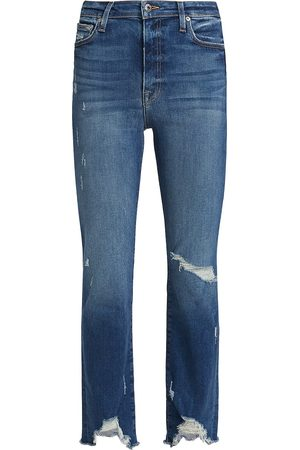 JONATHAN SIMKHAI Women High Waisted - Women's River High-Rise Straight-Leg Jeans - Distressed Atlantic - Size 30