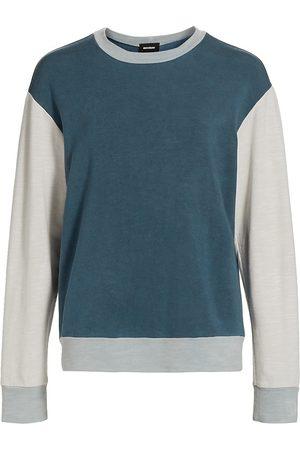 MONROW Women's Colorblock Crewneck Sweatshirt - Navy Multi - Size Medium