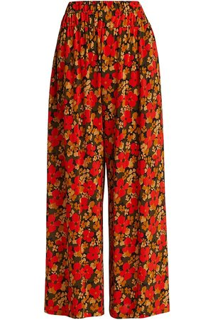 ROSETTA GETTY Women's Abstract Flowers Gathered Waist Culottes - Size XS