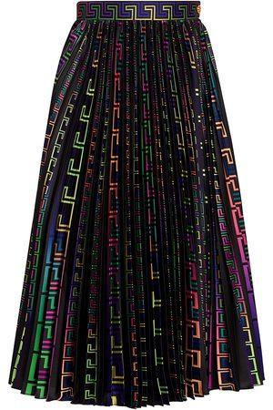 VERSACE Women Printed Skirts - Women's Neon Greco Print Pleated Skirt - Multi - Size 12