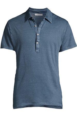 Boglioli Men's Short-Sleeve Linen Polo - Denim - Size XXL