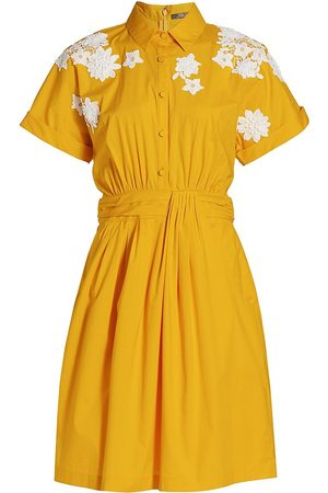 LELA ROSE Women Casual Dresses - Women's Floral Applique Cotton Poplin Shirt Dress - Goldenrod - Size 14