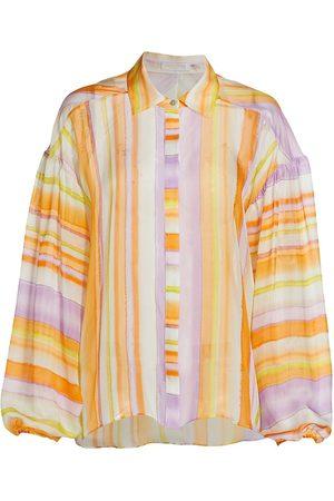 Ramy Brook Women's Felix Striped Silk Blouse - Wisteria Combo - Size Small